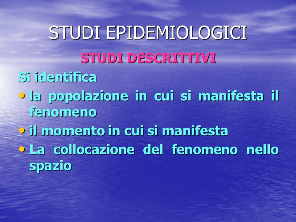 STUDI EPIDEMIOLOGICI STUDI DESCRITTIVI Si identifica