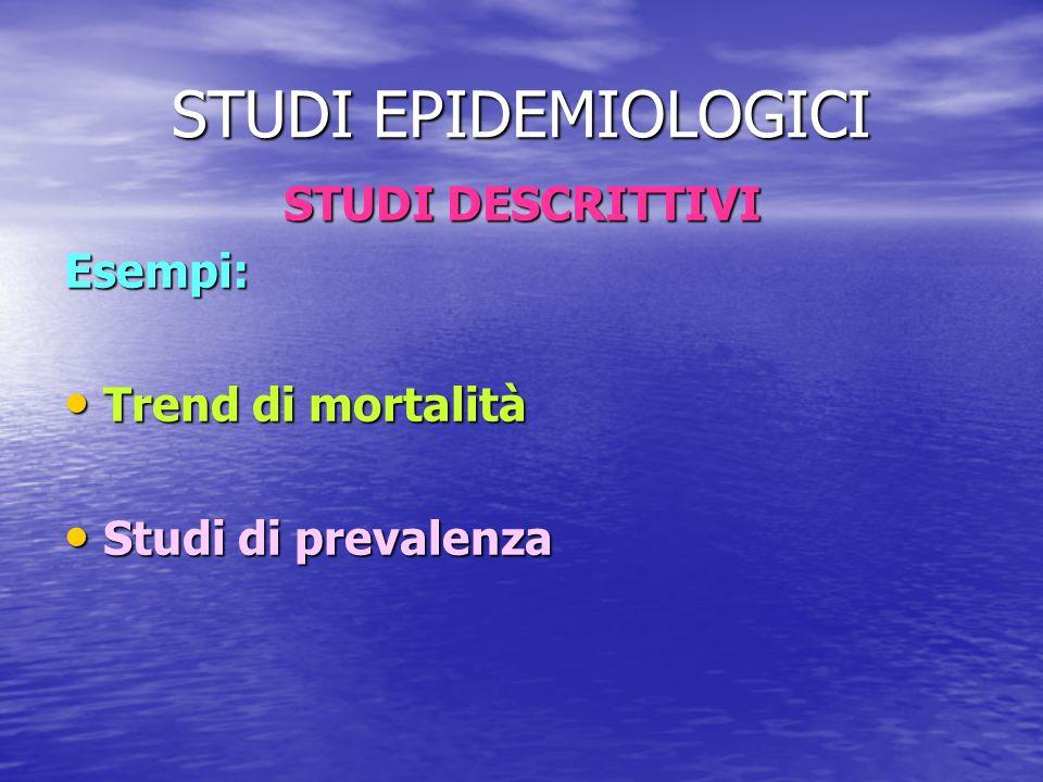 STUDI EPIDEMIOLOGICI STUDI DESCRITTIVI Esempi: Trend di mortalità