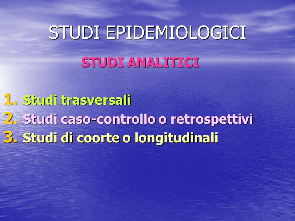 STUDI EPIDEMIOLOGICI STUDI ANALITICI Studi trasversali