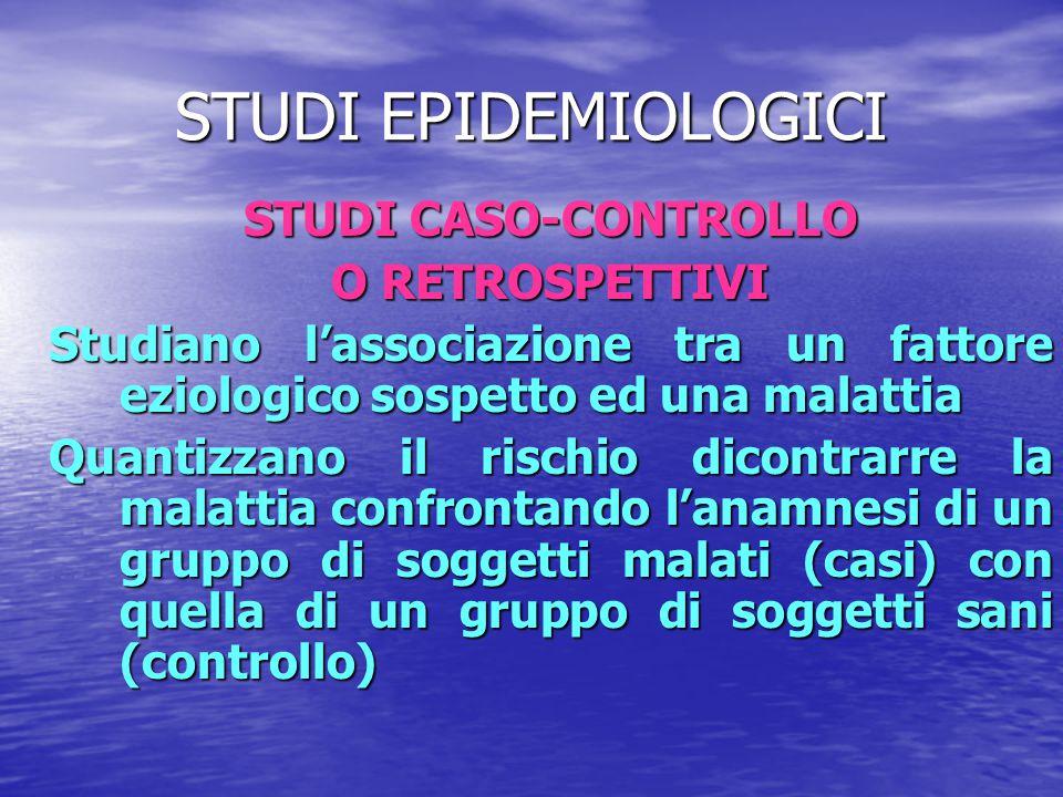 STUDI EPIDEMIOLOGICI STUDI CASO-CONTROLLO O RETROSPETTIVI