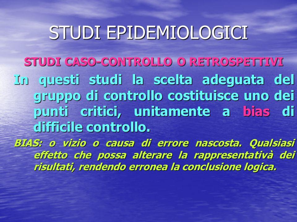 STUDI CASO-CONTROLLO O RETROSPETTIVI