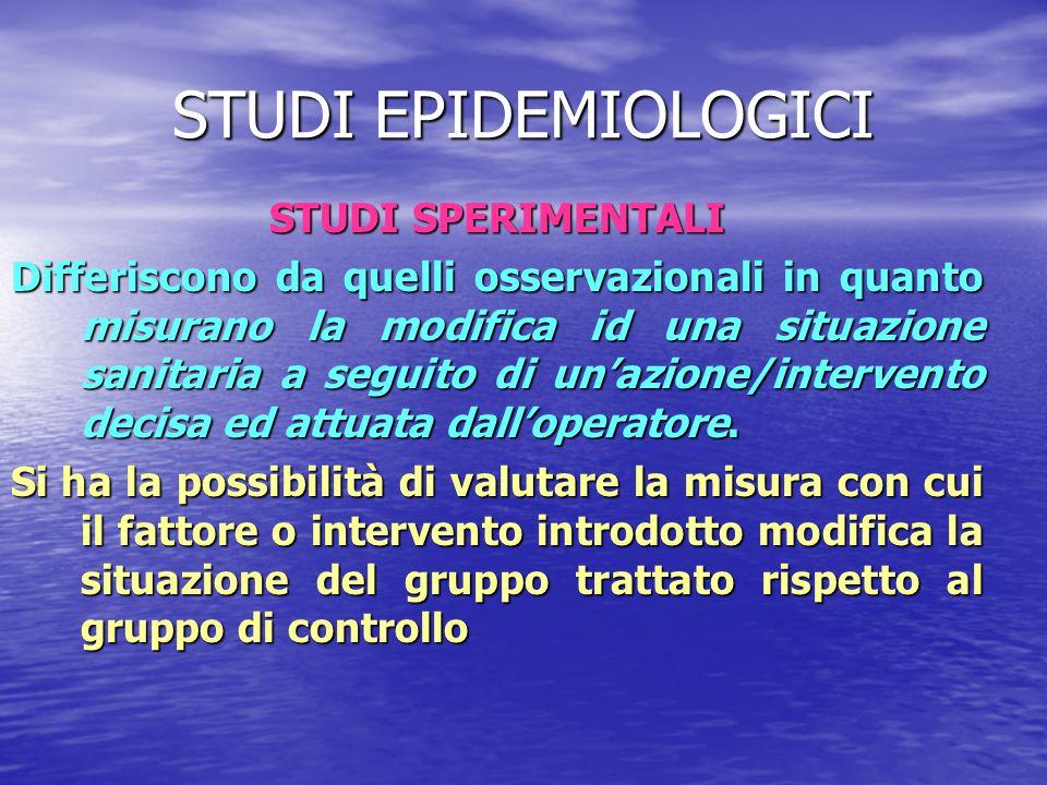 STUDI EPIDEMIOLOGICI STUDI SPERIMENTALI
