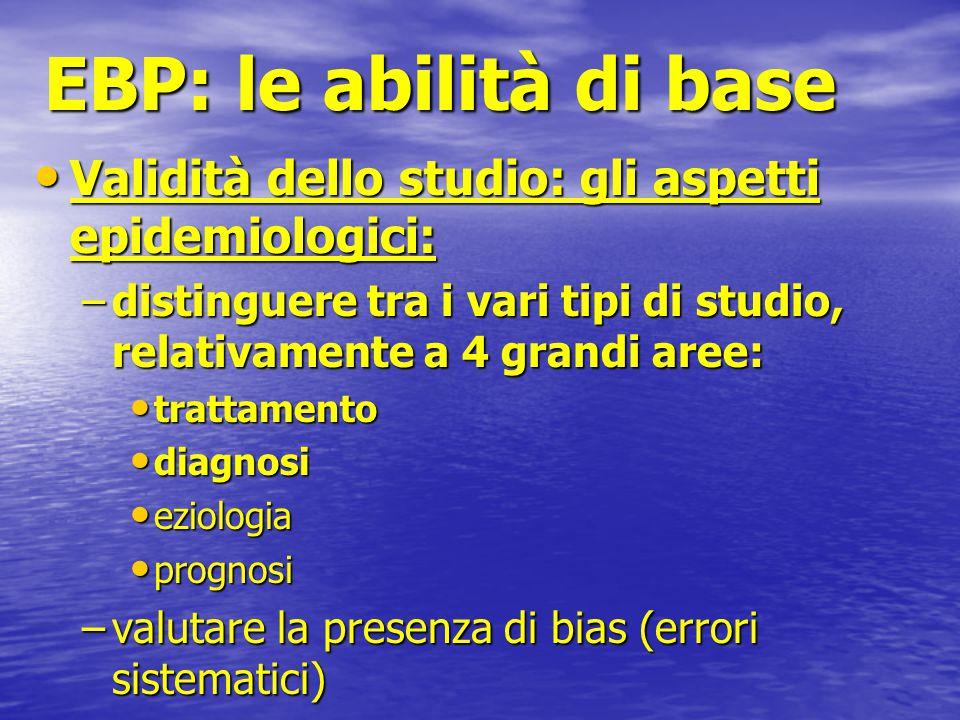 EBP: le abilità di base Validità dello studio: gli aspetti epidemiologici: distinguere tra i vari tipi di studio, relativamente a 4 grandi aree: