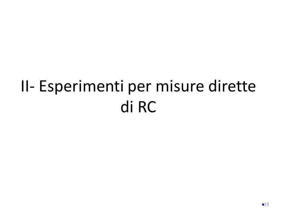 II- Esperimenti per misure dirette di RC