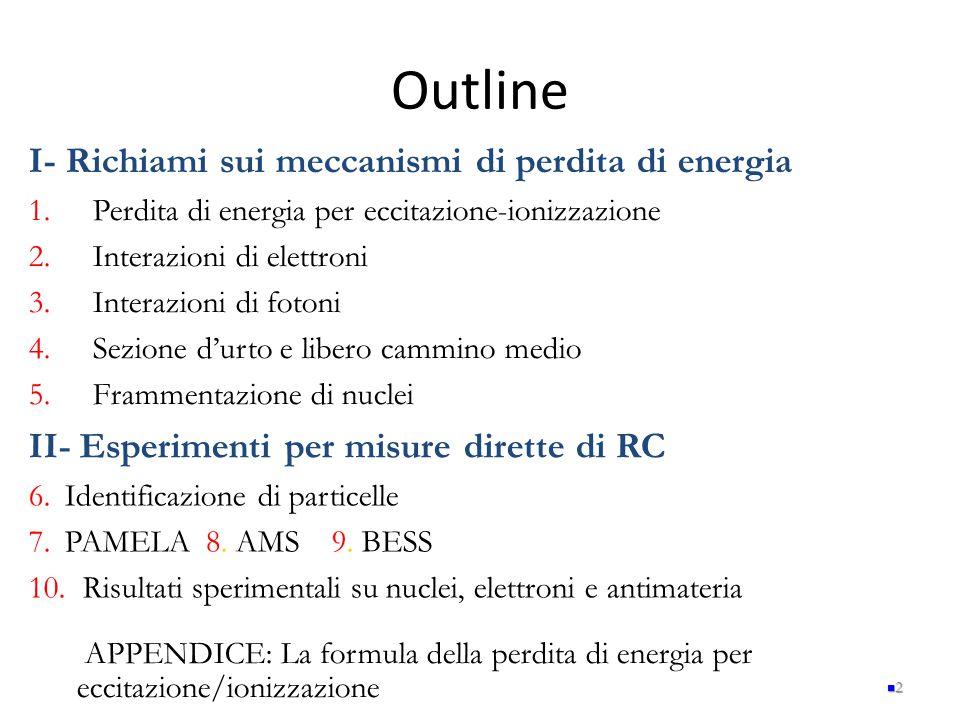 Outline I- Richiami sui meccanismi di perdita di energia