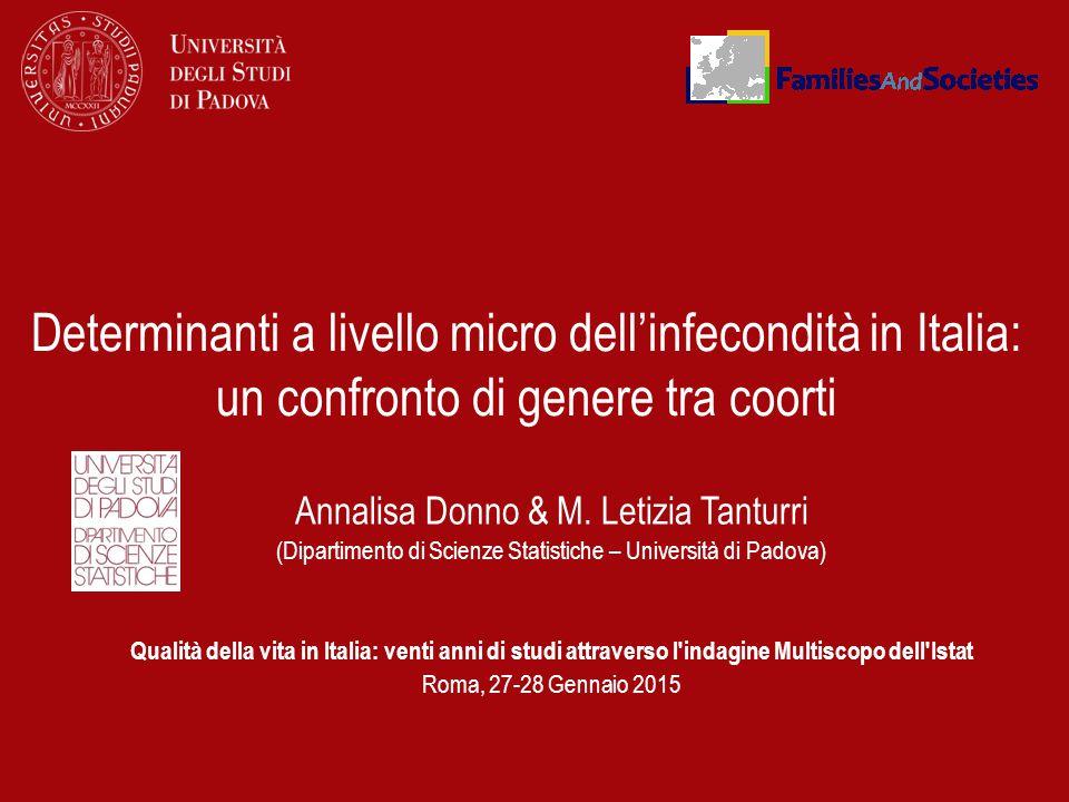 Determinanti a livello micro dell'infecondità in Italia: un confronto di genere tra coorti