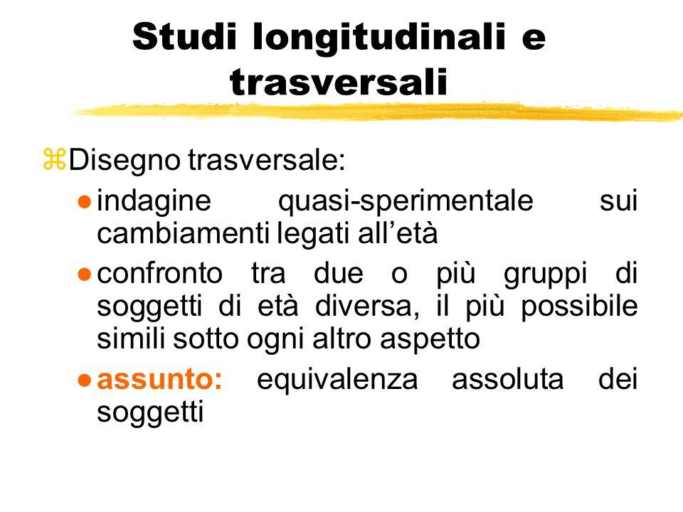 Studi longitudinali e trasversali