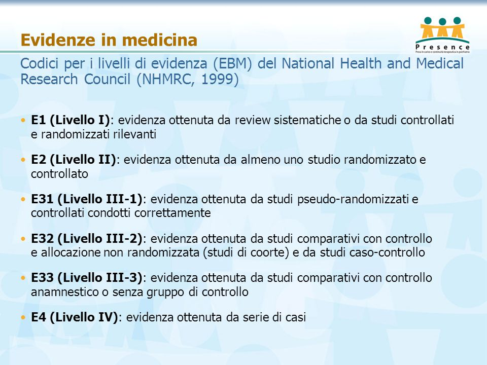 Evidenze in medicina Codici per i livelli di evidenza (EBM) del National Health and Medical Research Council (NHMRC, 1999)