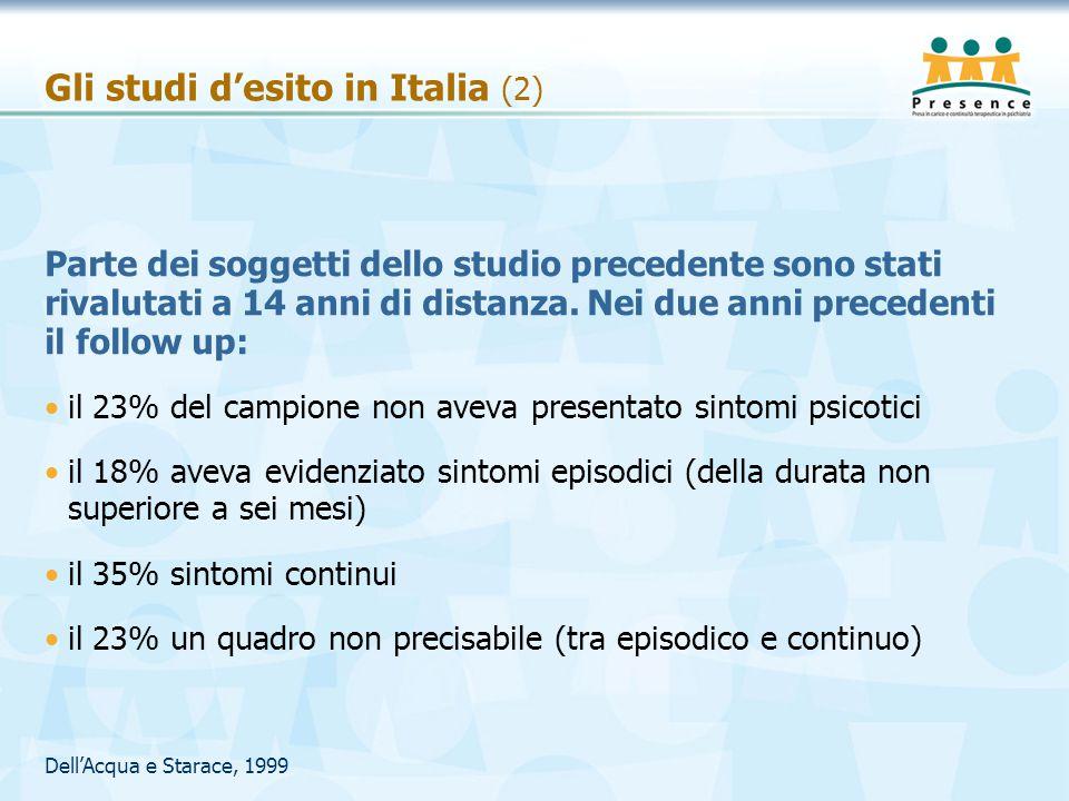Gli studi d'esito in Italia (2)