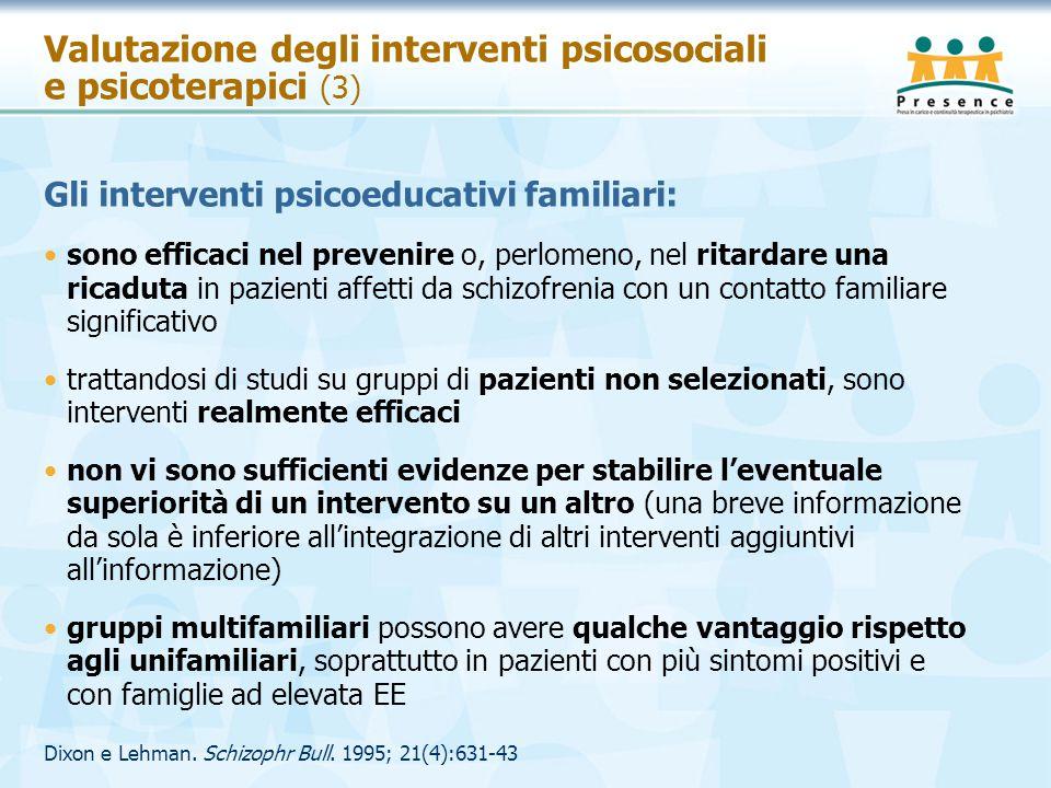 Valutazione degli interventi psicosociali e psicoterapici (3)