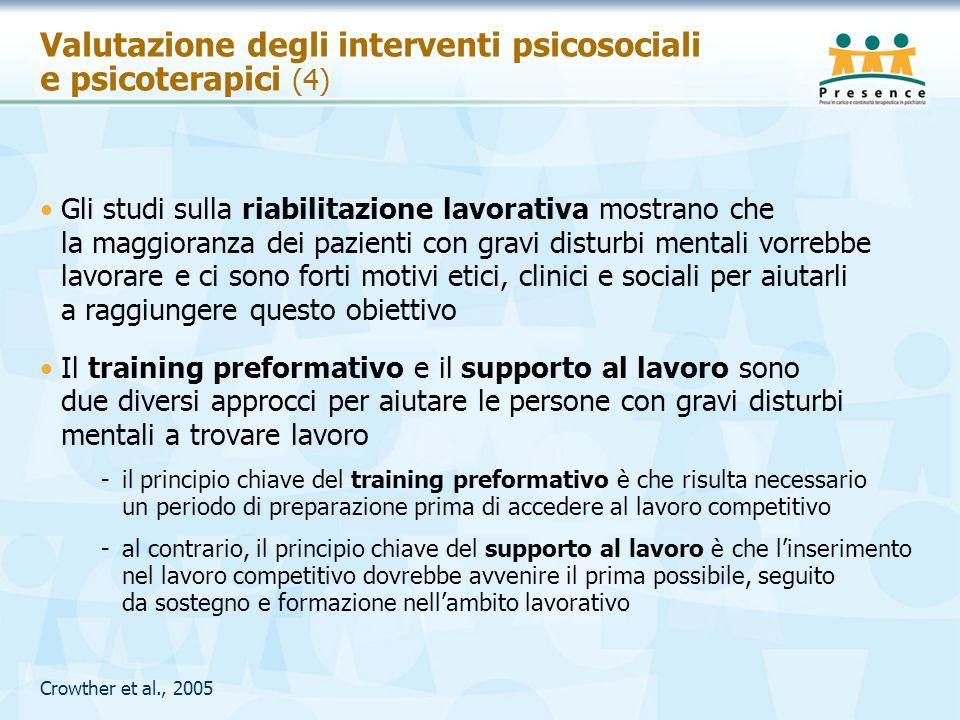 Valutazione degli interventi psicosociali e psicoterapici (4)