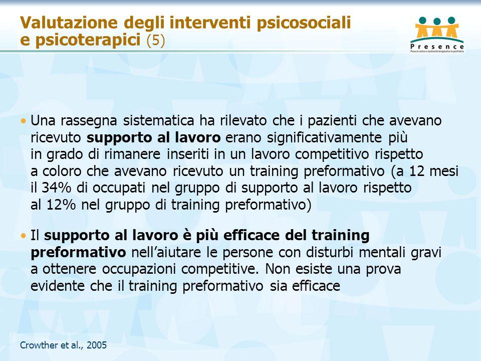 Valutazione degli interventi psicosociali e psicoterapici (5)