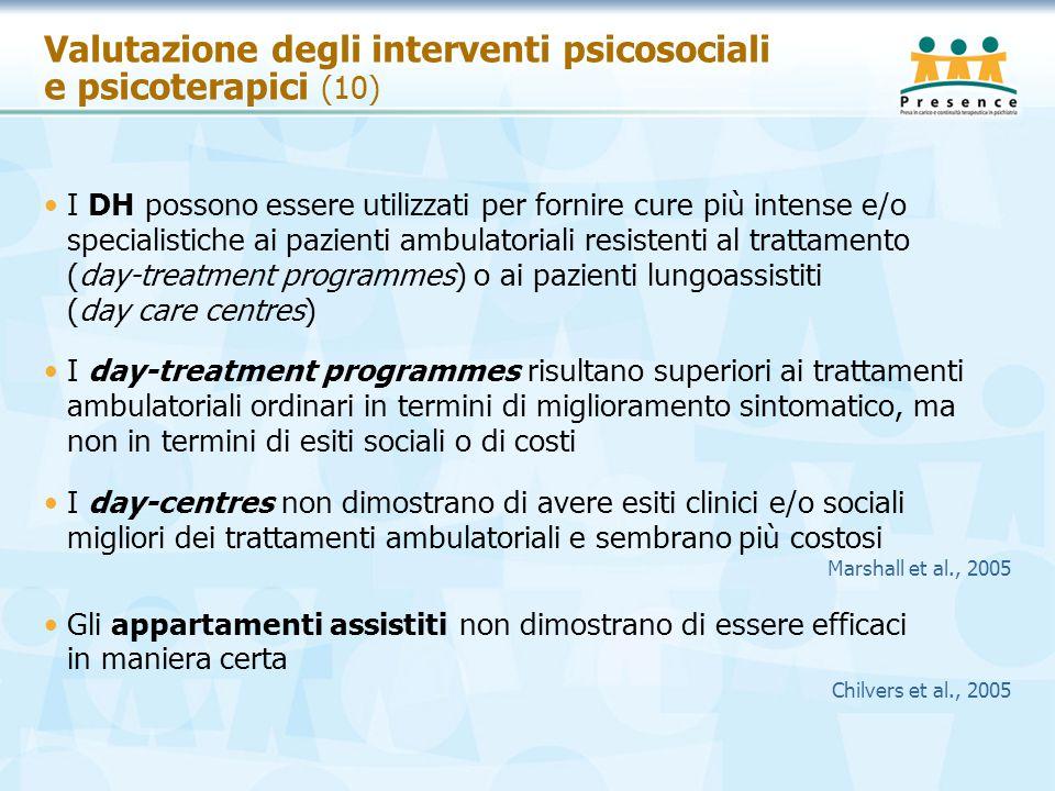 Valutazione degli interventi psicosociali e psicoterapici (10)