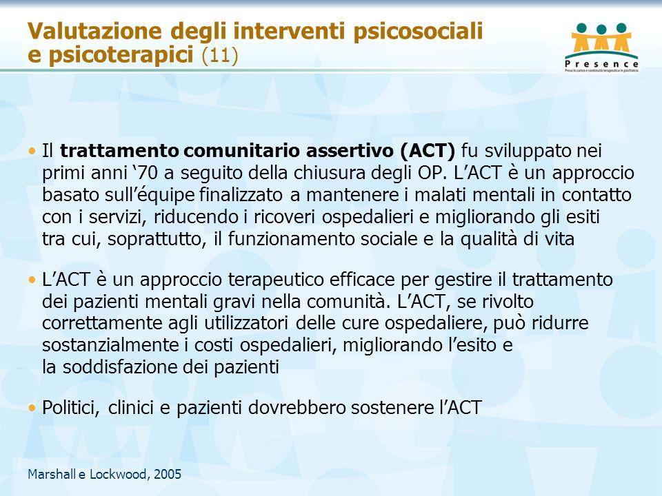Valutazione degli interventi psicosociali e psicoterapici (11)