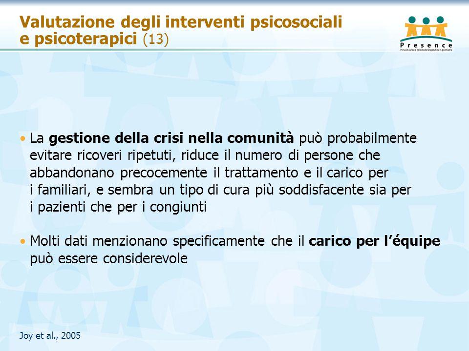 Valutazione degli interventi psicosociali e psicoterapici (13)