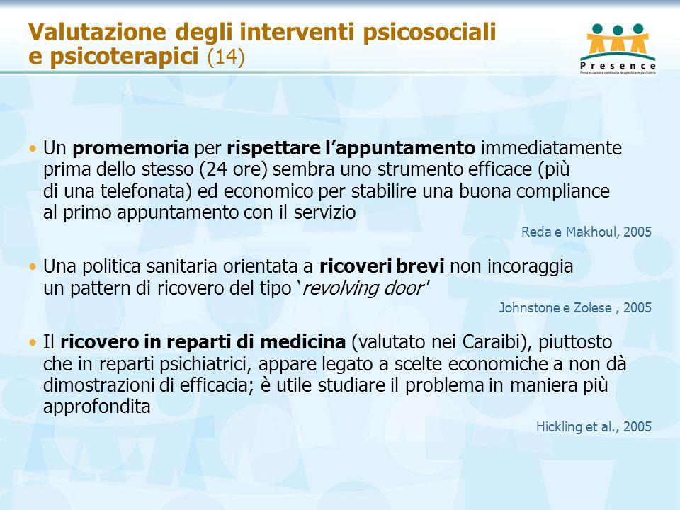 Valutazione degli interventi psicosociali e psicoterapici (14)