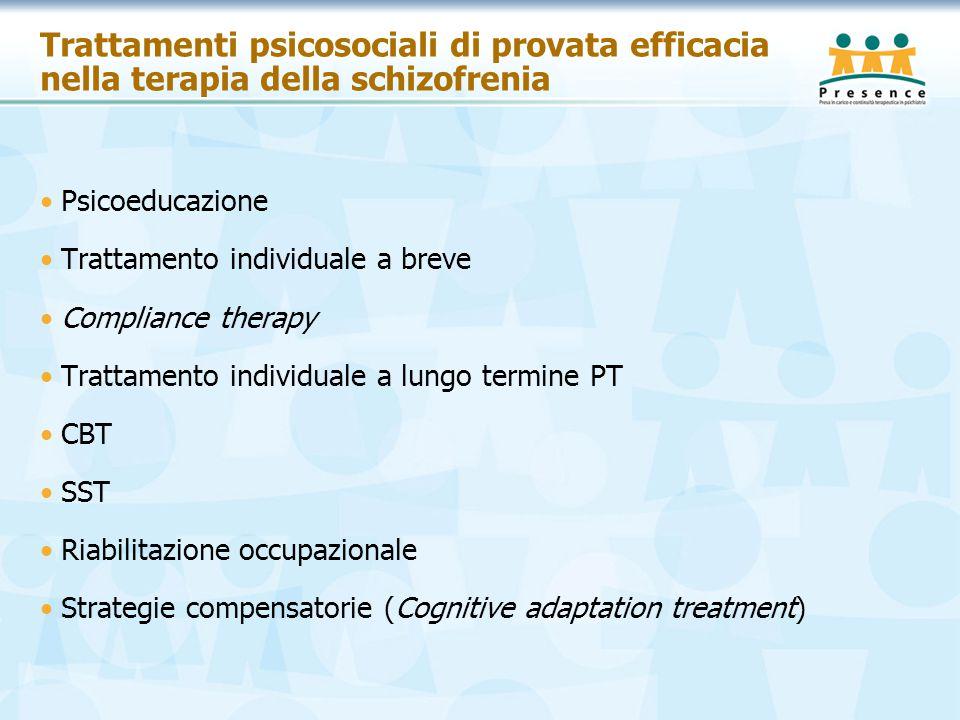 Trattamenti psicosociali di provata efficacia nella terapia della schizofrenia
