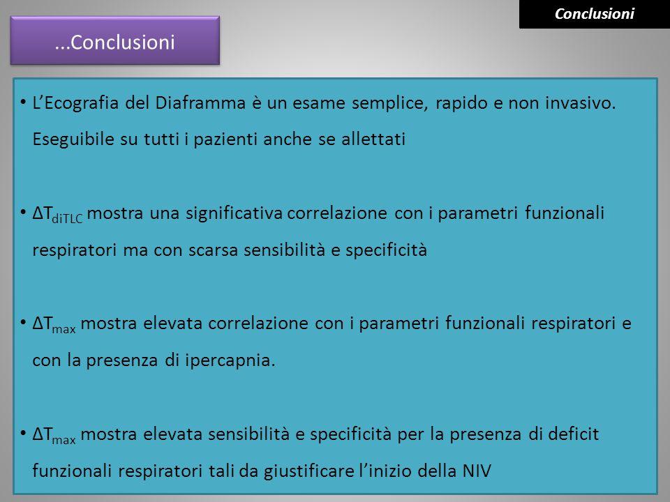 Conclusioni ...Conclusioni. L'Ecografia del Diaframma è un esame semplice, rapido e non invasivo. Eseguibile su tutti i pazienti anche se allettati.