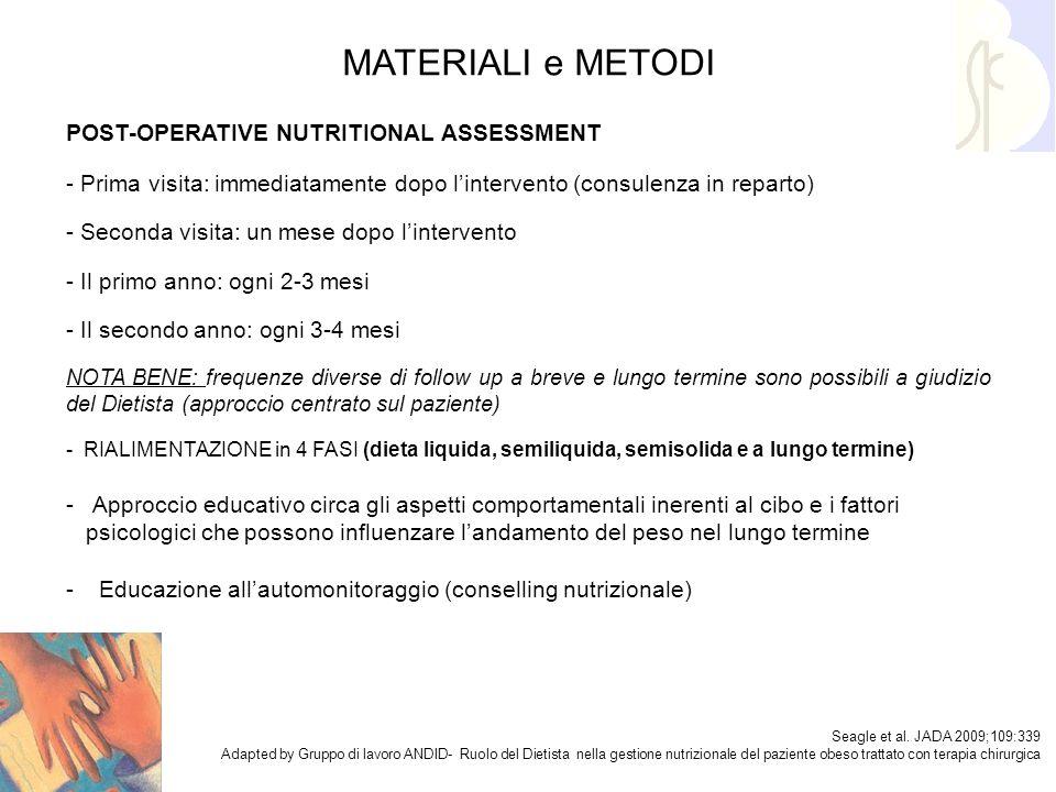 MATERIALI e METODI POST-OPERATIVE NUTRITIONAL ASSESSMENT