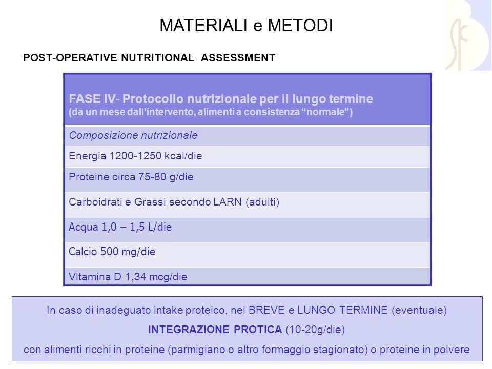 MATERIALI e METODI POST-OPERATIVE NUTRITIONAL ASSESSMENT. FASE IV- Protocollo nutrizionale per il lungo termine.