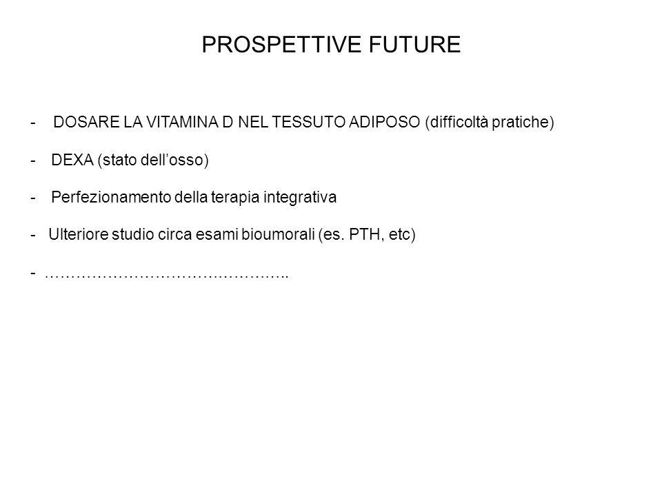 PROSPETTIVE FUTURE - DOSARE LA VITAMINA D NEL TESSUTO ADIPOSO (difficoltà pratiche) DEXA (stato dell'osso)