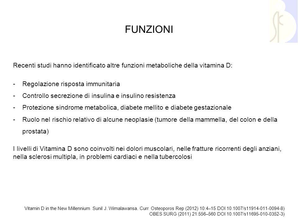 FUNZIONI Recenti studi hanno identificato altre funzioni metaboliche della vitamina D: Regolazione risposta immunitaria.
