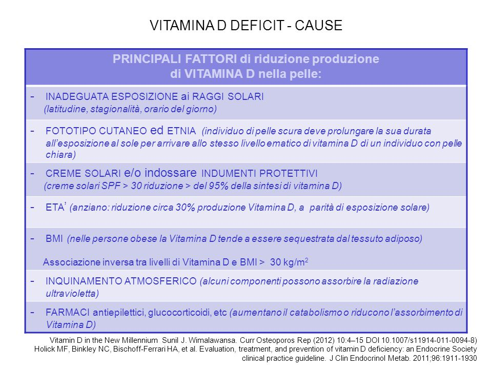 PRINCIPALI FATTORI di riduzione produzione di VITAMINA D nella pelle: