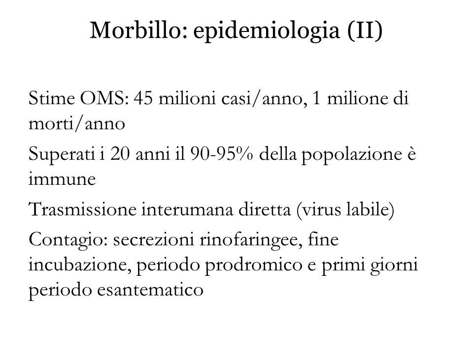 Morbillo: epidemiologia (II)