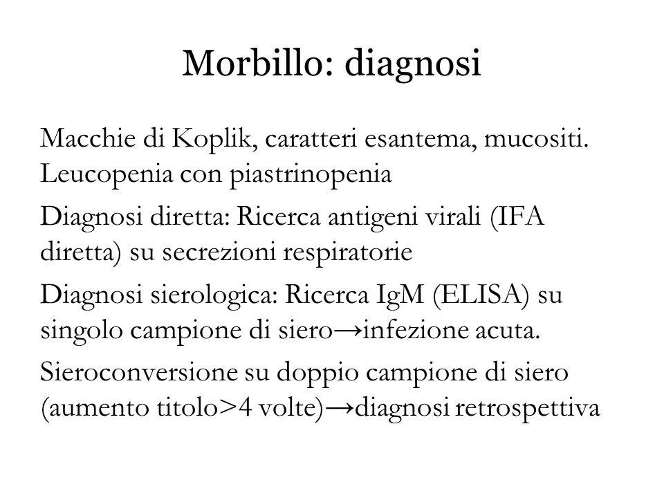 Morbillo: diagnosi Macchie di Koplik, caratteri esantema, mucositi. Leucopenia con piastrinopenia.