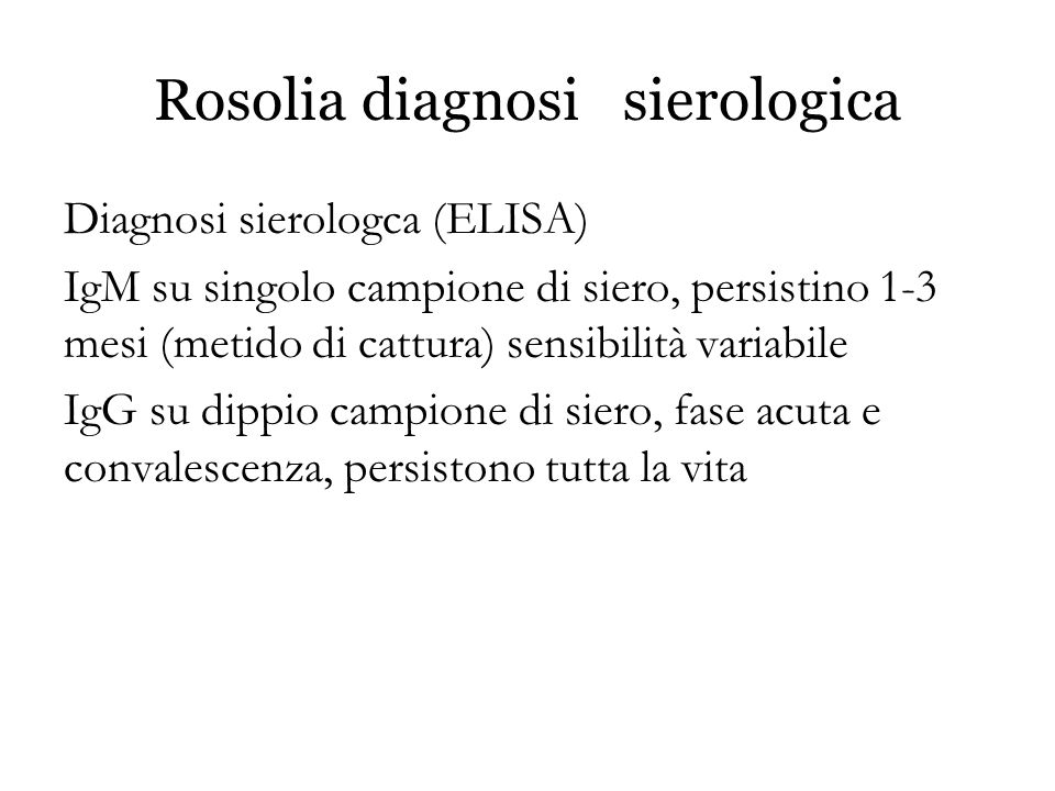 Rosolia diagnosi sierologica