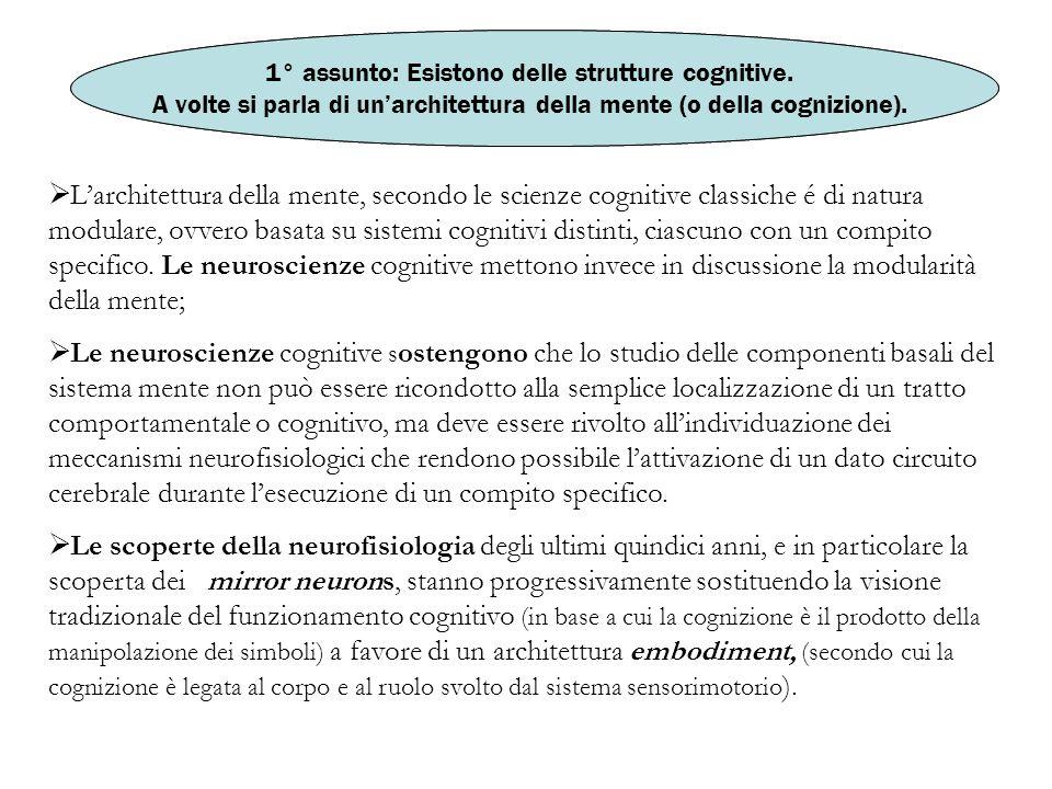 1° assunto: Esistono delle strutture cognitive.