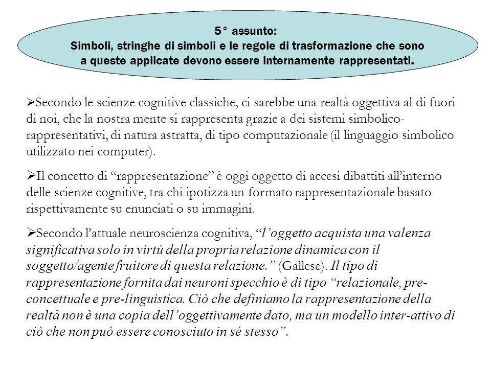 5° assunto: Simboli, stringhe di simboli e le regole di trasformazione che sono. a queste applicate devono essere internamente rappresentati.
