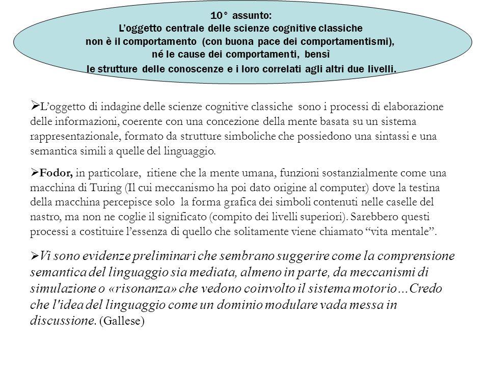10° assunto: L'oggetto centrale delle scienze cognitive classiche. non è il comportamento (con buona pace dei comportamentismi),