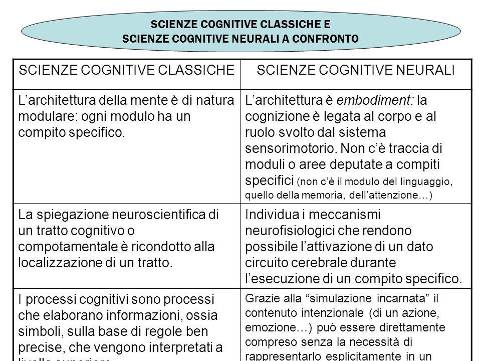 SCIENZE COGNITIVE CLASSICHE SCIENZE COGNITIVE NEURALI