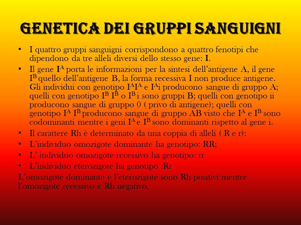 GENETICA DEI GRUPPI SANGUIGNI