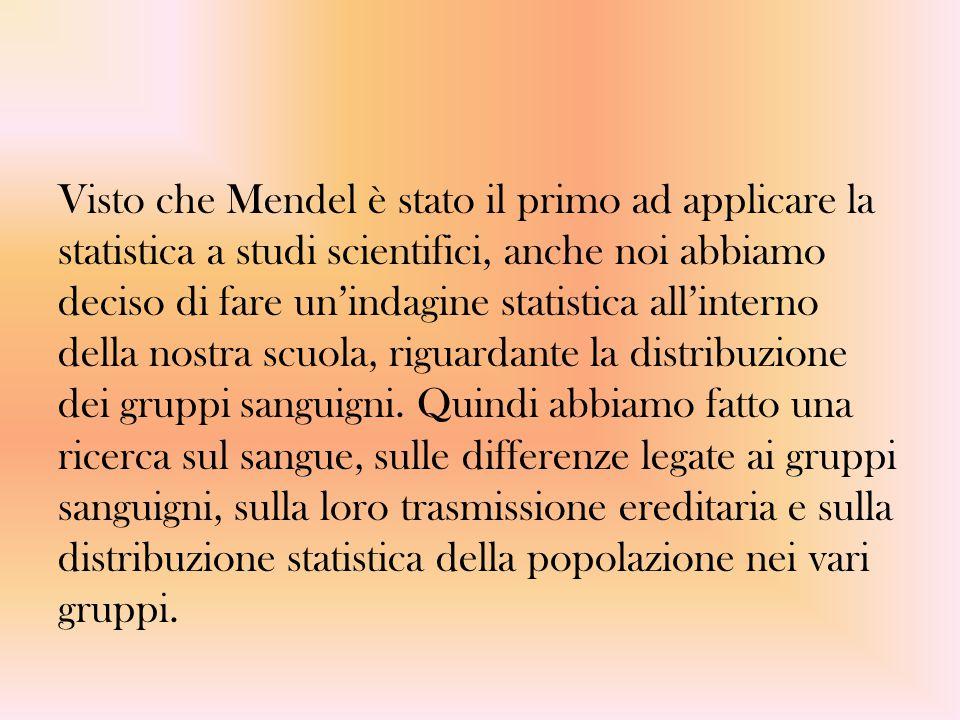 Visto che Mendel è stato il primo ad applicare la statistica a studi scientifici, anche noi abbiamo deciso di fare un'indagine statistica all'interno della nostra scuola, riguardante la distribuzione dei gruppi sanguigni.