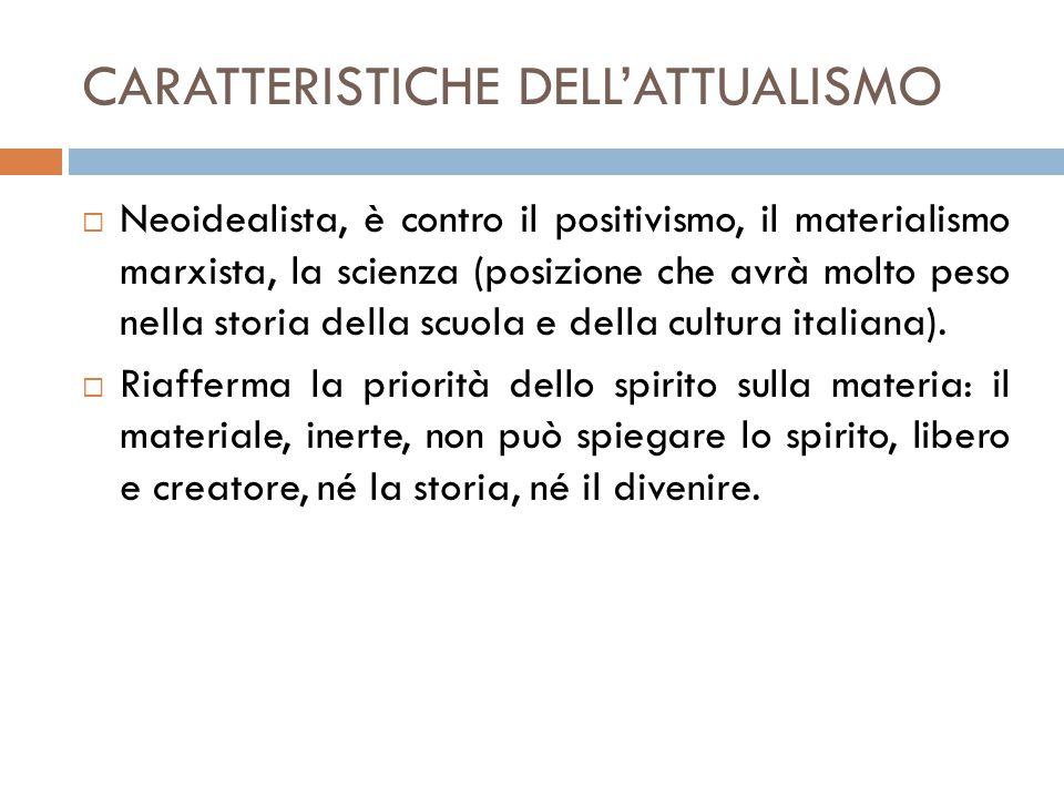 CARATTERISTICHE DELL'ATTUALISMO