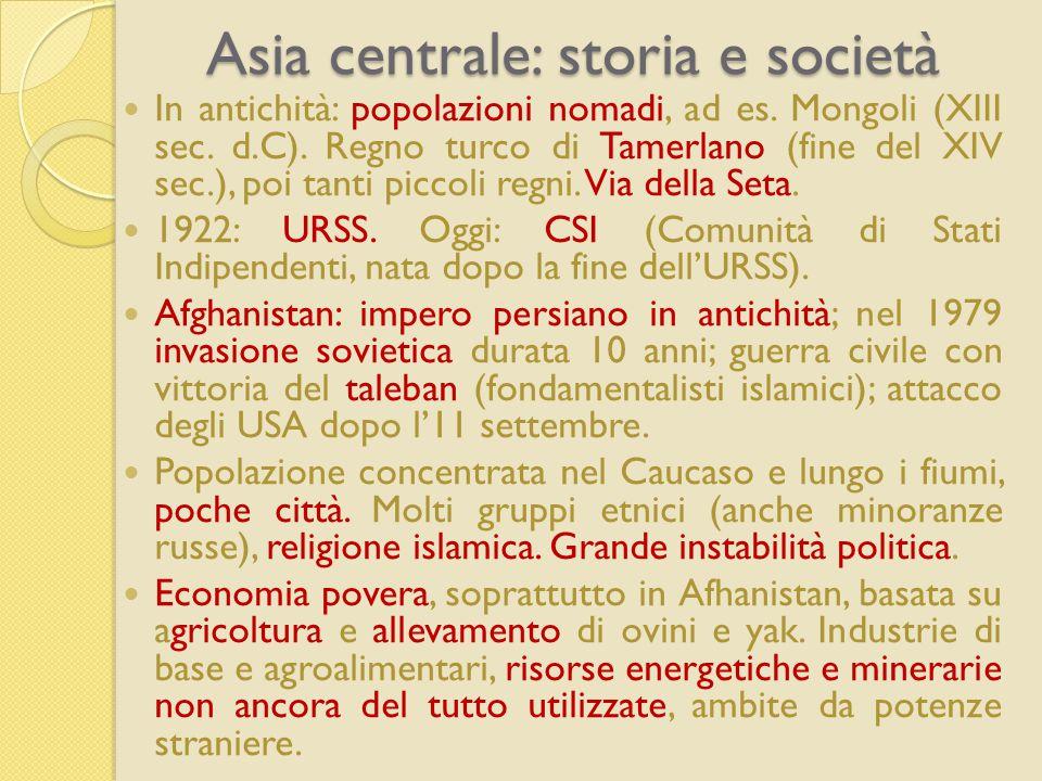 Asia centrale: storia e società