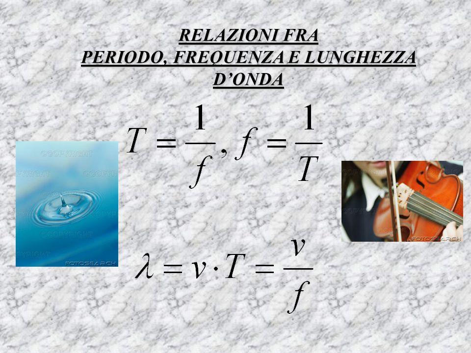 RELAZIONI FRA PERIODO, FREQUENZA E LUNGHEZZA D'ONDA