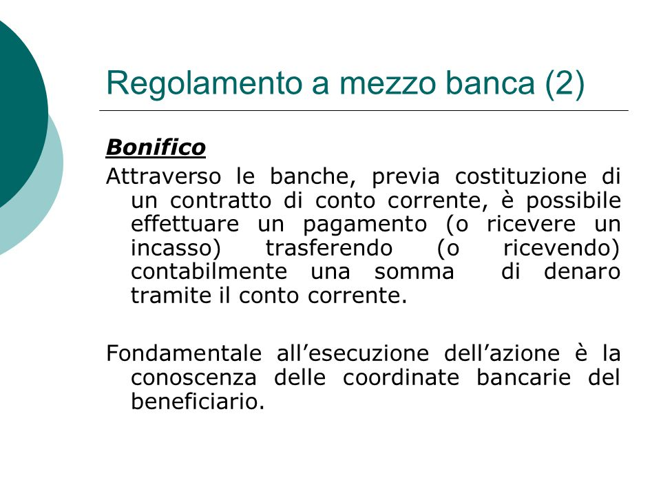 Regolamento a mezzo banca (2)
