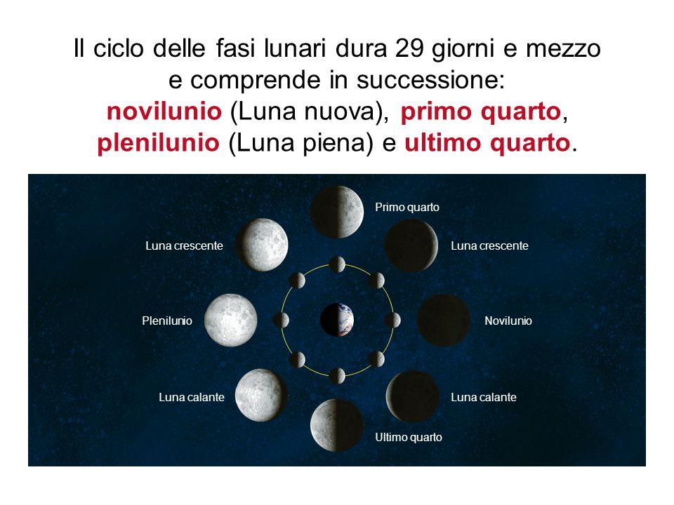 novilunio (Luna nuova), primo quarto, plenilunio (Luna piena)