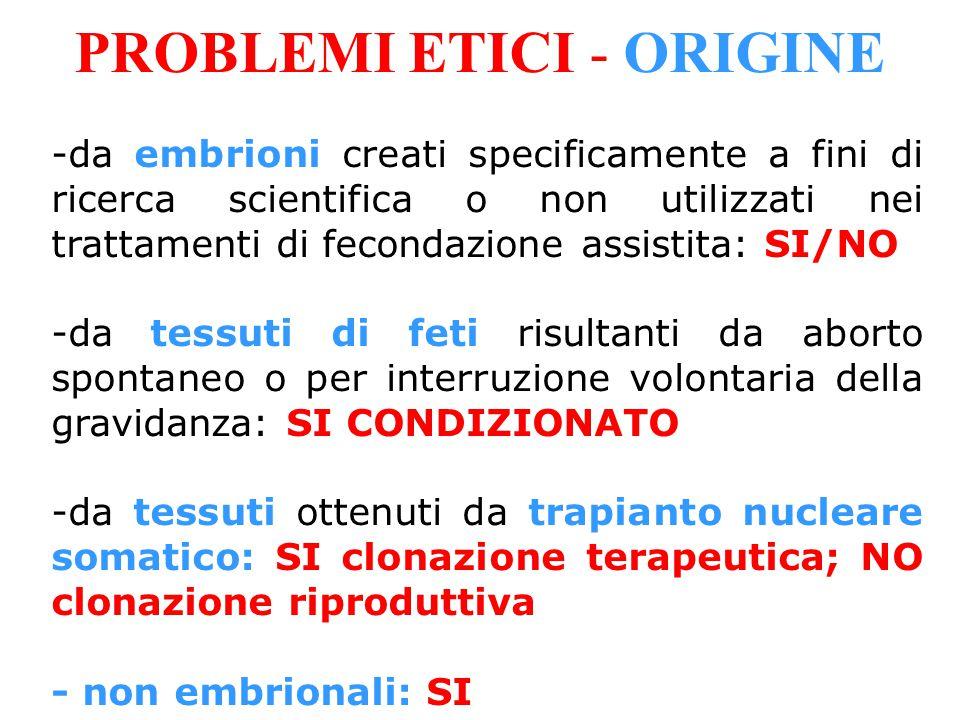 PROBLEMI ETICI - ORIGINE