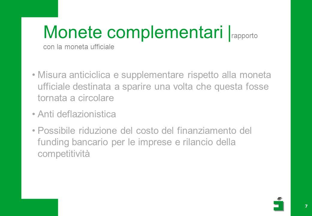 Monete complementari |rapporto con la moneta ufficiale