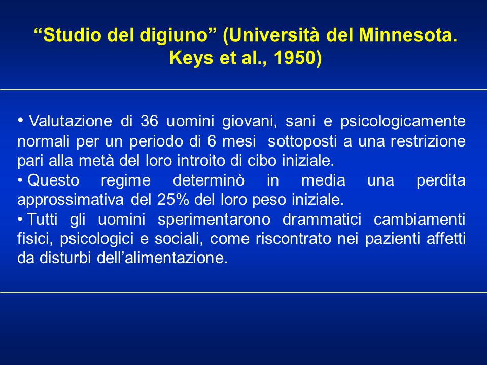 Studio del digiuno (Università del Minnesota. Keys et al., 1950)