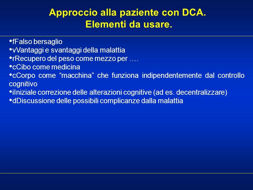 Approccio alla paziente con DCA. Elementi da usare.
