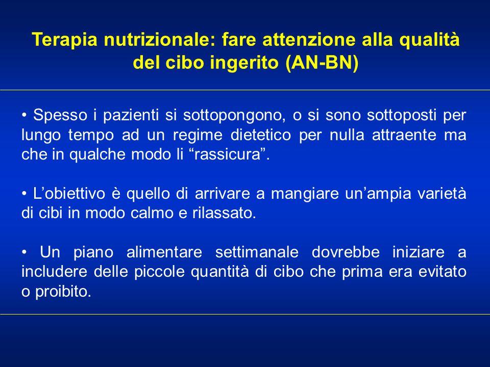 Terapia nutrizionale: fare attenzione alla qualità del cibo ingerito (AN-BN)