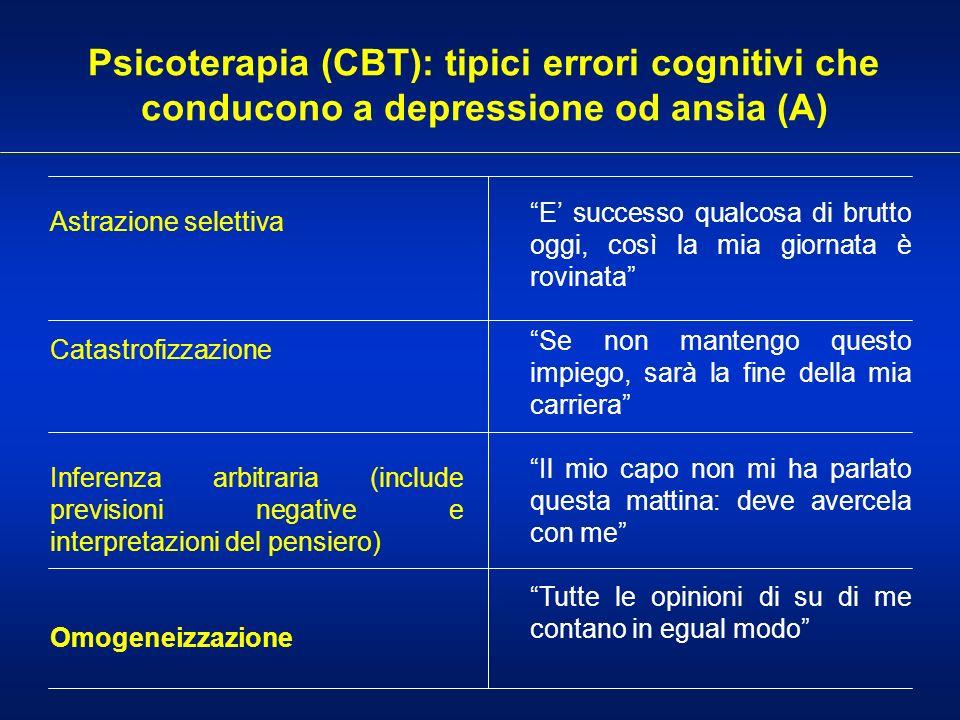 Psicoterapia (CBT): tipici errori cognitivi che conducono a depressione od ansia (A)