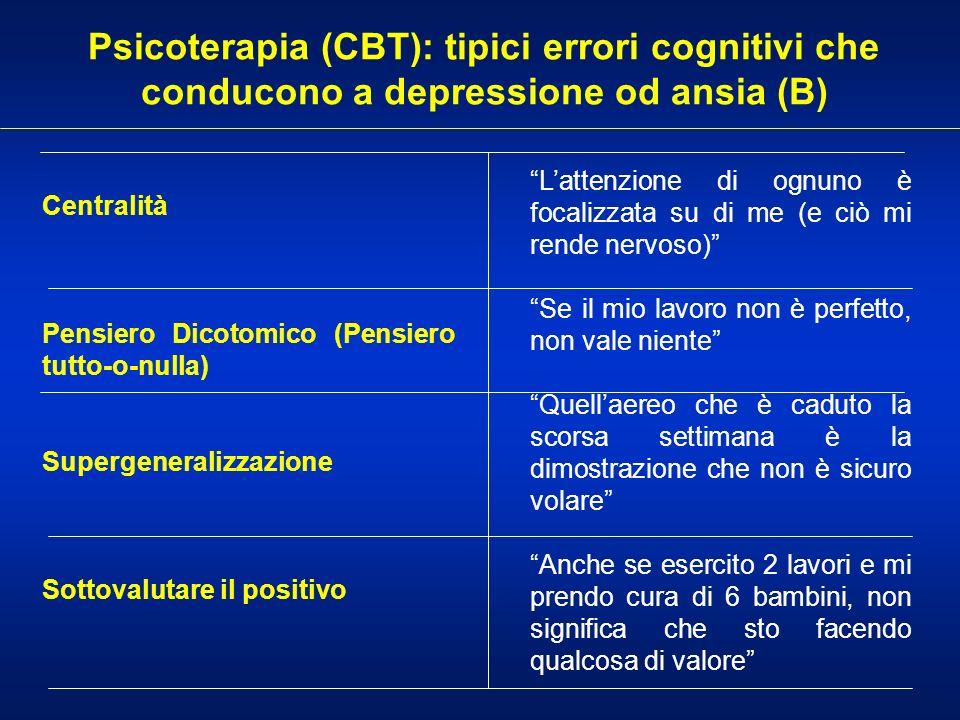 Psicoterapia (CBT): tipici errori cognitivi che conducono a depressione od ansia (B)