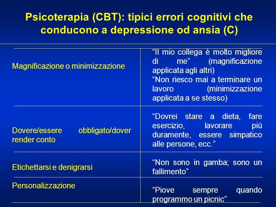 Psicoterapia (CBT): tipici errori cognitivi che conducono a depressione od ansia (C)
