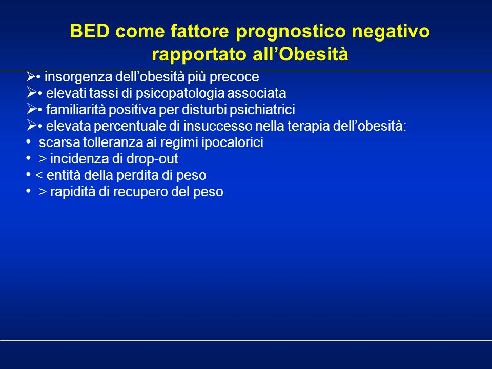 BED come fattore prognostico negativo rapportato all'Obesità